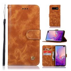Luxury Retro Leather Wallet Case for Samsung Galaxy S10 Plus(6.4 inch) - Golden