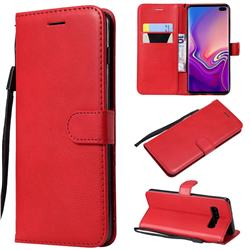 Retro Greek Classic Smooth PU Leather Wallet Phone Case for Samsung Galaxy S10 Plus(6.4 inch) - Red