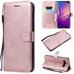 Retro Greek Classic Smooth PU Leather Wallet Phone Case for Samsung Galaxy S10 Plus(6.4 inch) - Rose Gold