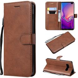 Retro Greek Classic Smooth PU Leather Wallet Phone Case for Samsung Galaxy S10 Plus(6.4 inch) - Brown