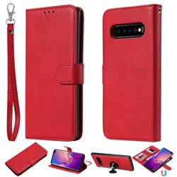 Retro Greek Detachable Magnetic PU Leather Wallet Phone Case for Samsung Galaxy S10 Plus(6.4 inch) - Red