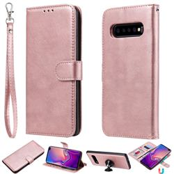 Retro Greek Detachable Magnetic PU Leather Wallet Phone Case for Samsung Galaxy S10 Plus(6.4 inch) - Rose Gold