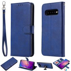 Retro Greek Detachable Magnetic PU Leather Wallet Phone Case for Samsung Galaxy S10 Plus(6.4 inch) - Blue