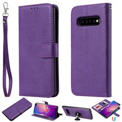 Retro Greek Detachable Magnetic PU Leather Wallet Phone Case for Samsung Galaxy S10 Plus(6.4 inch) - Purple