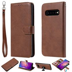 Retro Greek Detachable Magnetic PU Leather Wallet Phone Case for Samsung Galaxy S10 Plus(6.4 inch) - Brown