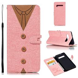 Mens Button Clothing Style Leather Wallet Phone Case for Samsung Galaxy S10 Plus(6.4 inch) - Pink