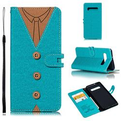 Mens Button Clothing Style Leather Wallet Phone Case for Samsung Galaxy S10 Plus(6.4 inch) - Green