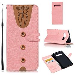 Ladies Bow Clothes Pattern Leather Wallet Phone Case for Samsung Galaxy S10 Plus(6.4 inch) - Pink
