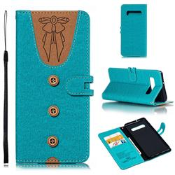 Ladies Bow Clothes Pattern Leather Wallet Phone Case for Samsung Galaxy S10 Plus(6.4 inch) - Green