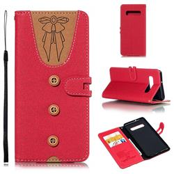 Ladies Bow Clothes Pattern Leather Wallet Phone Case for Samsung Galaxy S10 Plus(6.4 inch) - Red