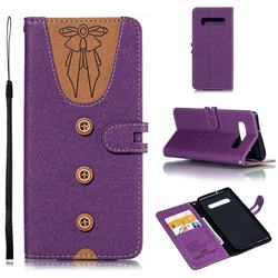 Ladies Bow Clothes Pattern Leather Wallet Phone Case for Samsung Galaxy S10 Plus(6.4 inch) - Purple