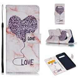 Marble Heart PU Leather Wallet Phone Case for Samsung Galaxy S10 Plus(6.4 inch) - Purple