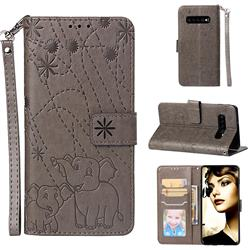Embossing Fireworks Elephant Leather Wallet Case for Samsung Galaxy S10 Plus(6.4 inch) - Gray