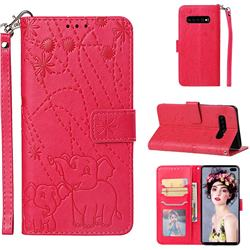 Embossing Fireworks Elephant Leather Wallet Case for Samsung Galaxy S10 Plus(6.4 inch) - Red