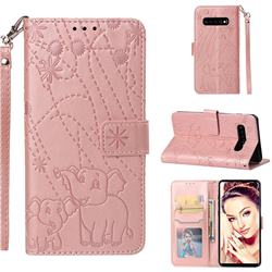 Embossing Fireworks Elephant Leather Wallet Case for Samsung Galaxy S10 Plus(6.4 inch) - Rose Gold