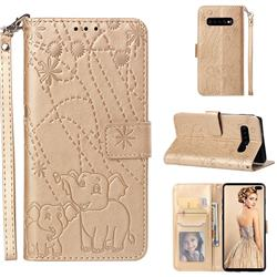 Embossing Fireworks Elephant Leather Wallet Case for Samsung Galaxy S10 Plus(6.4 inch) - Golden