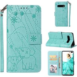 Embossing Fireworks Elephant Leather Wallet Case for Samsung Galaxy S10 Plus(6.4 inch) - Green