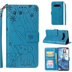 Embossing Fireworks Elephant Leather Wallet Case for Samsung Galaxy S10 Plus(6.4 inch) - Blue