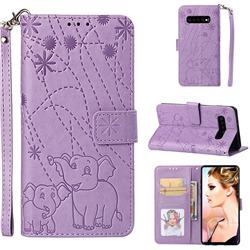 Embossing Fireworks Elephant Leather Wallet Case for Samsung Galaxy S10 Plus(6.4 inch) - Purple