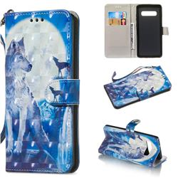 Ice Wolf 3D Painted Leather Wallet Phone Case for Samsung Galaxy S10 Plus(6.4 inch)
