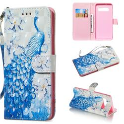Blue Peacock 3D Painted Leather Wallet Phone Case for Samsung Galaxy S10 Plus(6.4 inch)