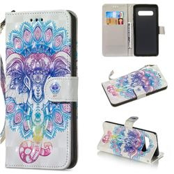 Colorful Elephant 3D Painted Leather Wallet Phone Case for Samsung Galaxy S10 Plus(6.4 inch)