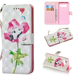 Flower Panda 3D Painted Leather Wallet Phone Case for Samsung Galaxy S10 Plus(6.4 inch)