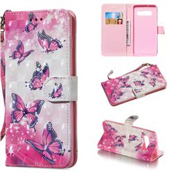Pink Butterfly 3D Painted Leather Wallet Phone Case for Samsung Galaxy S10 Plus(6.4 inch)