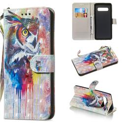 Watercolor Owl 3D Painted Leather Wallet Phone Case for Samsung Galaxy S10 Plus(6.4 inch)