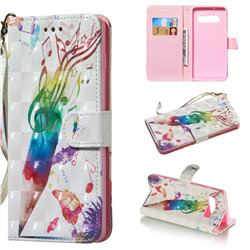Music Pen 3D Painted Leather Wallet Phone Case for Samsung Galaxy S10 Plus(6.4 inch)