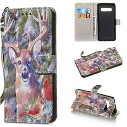 Elk Deer 3D Painted Leather Wallet Phone Case for Samsung Galaxy S10 Plus(6.4 inch)