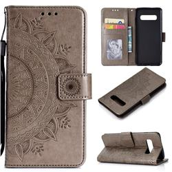 Intricate Embossing Datura Leather Wallet Case for Samsung Galaxy S10 Plus(6.4 inch) - Gray