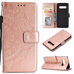 Intricate Embossing Datura Leather Wallet Case for Samsung Galaxy S10 Plus(6.4 inch) - Rose Gold