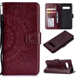 Intricate Embossing Datura Leather Wallet Case for Samsung Galaxy S10 Plus(6.4 inch) - Brown