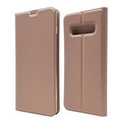 Ultra Slim Card Magnetic Automatic Suction Leather Wallet Case for Samsung Galaxy S10 Plus(6.4 inch) - Rose Gold