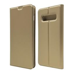 Ultra Slim Card Magnetic Automatic Suction Leather Wallet Case for Samsung Galaxy S10 Plus(6.4 inch) - Champagne