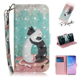 Black and White Cat 3D Painted Leather Wallet Phone Case for Samsung Galaxy S10 Plus(6.4 inch)
