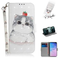 Cute Tomato Cat 3D Painted Leather Wallet Phone Case for Samsung Galaxy S10 Plus(6.4 inch)
