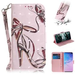 Butterfly High Heels 3D Painted Leather Wallet Phone Case for Samsung Galaxy S10 Plus(6.4 inch)