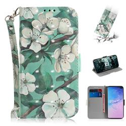 Watercolor Flower 3D Painted Leather Wallet Phone Case for Samsung Galaxy S10 Plus(6.4 inch)