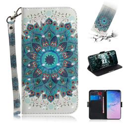 Peacock Mandala 3D Painted Leather Wallet Phone Case for Samsung Galaxy S10 Plus(6.4 inch)