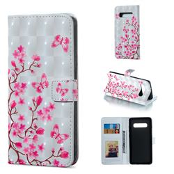 Butterfly Sakura Flower 3D Painted Leather Phone Wallet Case for Samsung Galaxy S10 Plus(6.4 inch)