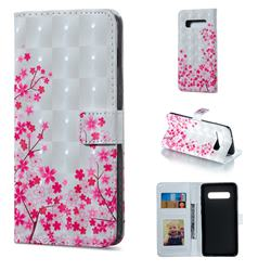 Cherry Blossom 3D Painted Leather Phone Wallet Case for Samsung Galaxy S10 Plus(6.4 inch)