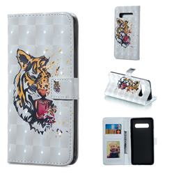 Toothed Tiger 3D Painted Leather Phone Wallet Case for Samsung Galaxy S10 Plus(6.4 inch)