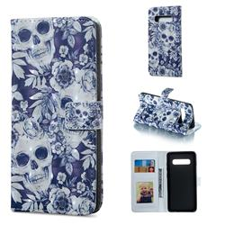 Skull Flower 3D Painted Leather Phone Wallet Case for Samsung Galaxy S10 Plus(6.4 inch)
