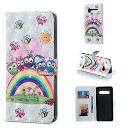 Rainbow Owl Family 3D Painted Leather Phone Wallet Case for Samsung Galaxy S10 Plus(6.4 inch)