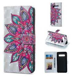 Mandara Flower 3D Painted Leather Phone Wallet Case for Samsung Galaxy S10 Plus(6.4 inch)