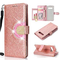 Glitter Diamond Buckle Splice Mirror Leather Wallet Phone Case for Samsung Galaxy S10 Plus(6.4