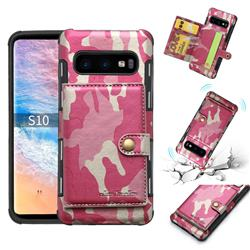 Camouflage Multi-function Leather Phone Case for Samsung Galaxy S10 Plus(6.4 inch) - Rose