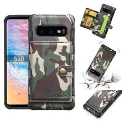 Camouflage Multi-function Leather Phone Case for Samsung Galaxy S10 Plus(6.4 inch) - Army Green